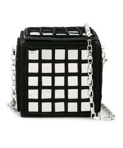 TOMASINI | Mirror Embellished Rubix Cube Bag Suede/Metal/Glass