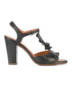Chie Mihara | Ruffle-Front Sandals 38 Leather/Rubber