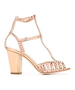Giuseppe Zanotti Design | Embellished Stud Sandals 36.5 Suede/Leather/Crystal
