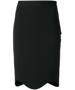 Givenchy | Curved Hem Knee Length Skirt 38 Viscose/Polyamide/Spandex/Elastane/Silk