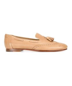 Santoni | Perforated Detail Tassel Loafers 39 Calf Leather/Leather