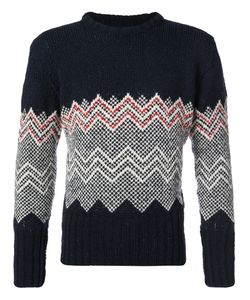 Thom Browne | Classic Crewneck Pullover With Chevron Fair Isle In