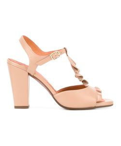 Chie Mihara | Ruffle Front Sandals 38 Leather/Rubber