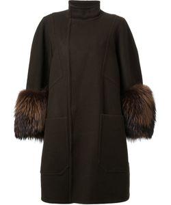 DRESS CAMP | Dresscamp Oversized Sleeve Coat 36 Nylon/Wool/Racoon Fur