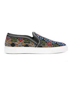 Louis Leeman | Geometric Pattern Slip-On Sneakers 42.5 Cotton/Leather/Rubber