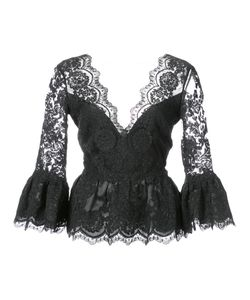 Marchesa | Peplum Lace Blouse Women 8