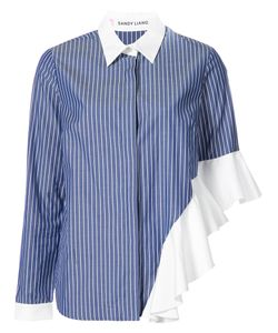 Sandy Liang | Ruffled Detail Striped Shirt Women