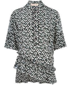 Marni | Geometric Asymmetric Ruffle Blouse 44 Silk