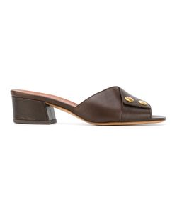 Michel Vivien | Open Toe Mules Size 38.5 Calf Leather/Leather/Metal