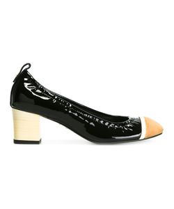 Lanvin | Rounded Block Heel Pumps 40 Calf Leather/Leather