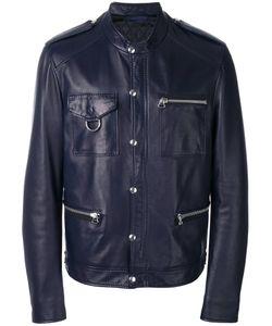 Lanvin | Press Stud Leather Jacket 52 Lamb Skin/Viscose/Cotton/Polyester