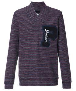 Prps | Striped V-Neck Sweatshirt Large Cotton
