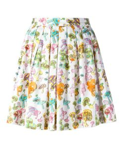 Olympia Le-Tan | Pleated Mushroom Print Skirt 38 Cotton