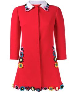 Mary Katrantzou | Mason Flower-Embellished Coat 8 Virgin Wool/Cotton/Silk