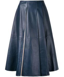 Jil Sander | Leather Midi Skirt 36 Lamb Skin
