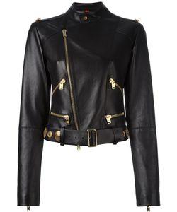 Fausto Puglisi | Studded Belt Biker Jacket 42 Leather/Silk