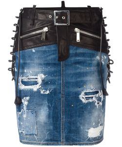 Dsquared2 | Bondage Denim Skirt 40 Cotton/Spandex/Elastane/Calf Leather/Polyester