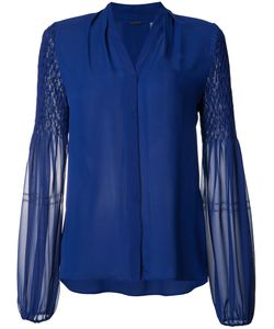 Elie Tahari | Sheer Sleeves Shirt Xs Silk/Polyester