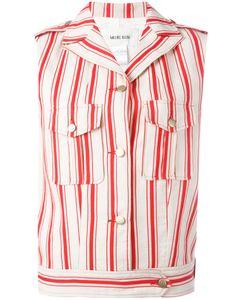 Michel Klein | Sleeveless Striped Jacket 36 Cotton/Linen/Flax/Silk