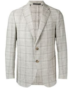 Eleventy   Checked Slim-Fitting Blazer 50 Cotton/Linen/Flax/Silk/Cupro