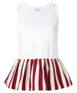 Red Valentino | Pleated Trim Top Xs Cotton