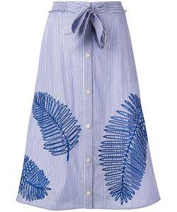 TANYA TAYLOR | Stripe Buttoned Midi Skirt
