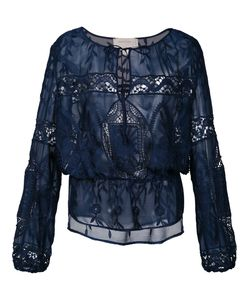 Nicole Miller   Lace Blouse Large Polyester/Silk