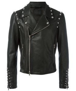 Diesel Black Gold | Studded Trim Jacket 48 Calf Leather/Rayon