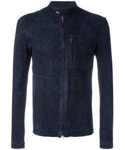 SALVATORE SANTORO   Zipped Leather Jacket 48 Sheep Skin/Shearling