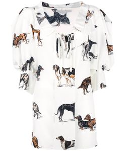 Stella Mccartney | Crinkled Neck Dog Blouse 42 Silk