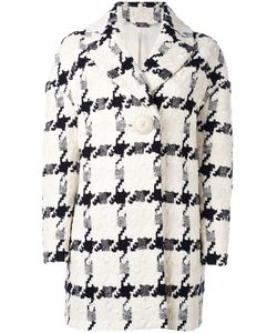 Alexander McQueen | Checked Single-Button Trapeze Coat 38 Silk/Linen/Flax/Viscose/Cotton