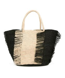 Sensi Studio | Frayed Trim Tote Bag Straw