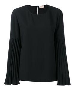 Sara Battaglia   Pleated Sleeve Blouse Size 44