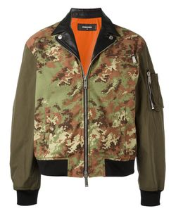 Dsquared2 | Camouflage Leather Accent Bomber