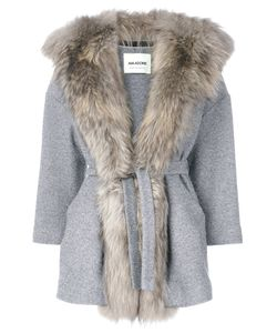 AVA ADORE | Furry Lapel Belted Coat Women Acrylic/Wool/Raccoon