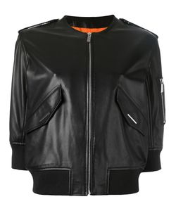 Barbara Bui | Leather Bomber Jacket 36 Cotton/Lamb Skin/Spandex/Elastane