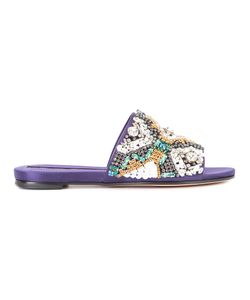 Rochas | Crystal Embellished Mules Womens Size 41 Leather/Satin/Sable Hair/Sequin