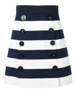 Dolce & Gabbana   Striped A-Line Skirt 44 Cotton/Spandex/Elastane/Silk