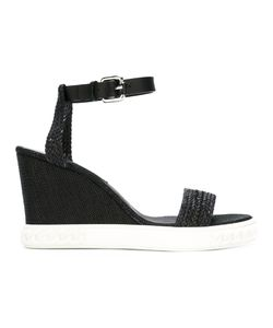 Casadei | Interlaced Straps Wedge Sandals 39 Leather/Rubber/Straw
