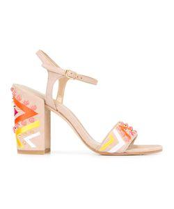 Stuart Weitzman | Embellished Sandals 37 Suede/Cotton/Plastic/Leather