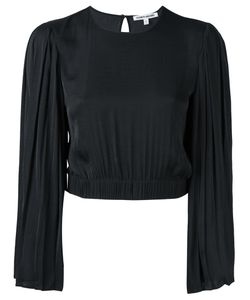 Elizabeth And James | Pleated Sleeve Cropped Blouse Small