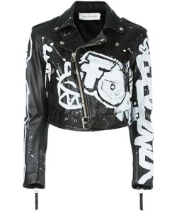 Faith Connexion | Graffiti Print Biker Jacket 38 Leather/Acetate