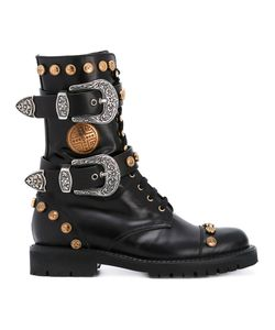 Fausto Puglisi   Studded Buckled Mid-Calf Boots