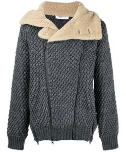 Pierre Balmain   Shearling Collar Knit Jacket 52 Viscose/Wool/Alpaca/Acrylic