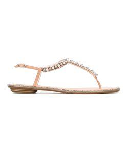 Rene' Caovilla | René Caovilla Crystal Strap Sandals 41 Leather/Satin