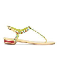 Rene' Caovilla | René Caovilla Beaded T-Bar Flat Sandals