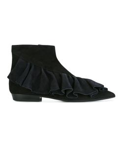 J.W. Anderson | J.W.Anderson Ruffle Ankle Booties 40 Suede/Leather