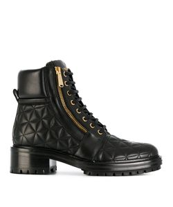 Balmain | Quilted Lace-Up Ankle Boots Women