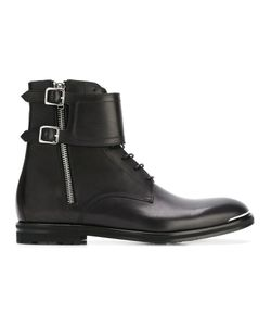 Alexander McQueen | Double Buckle Boots 42.5 Leather/Rubber
