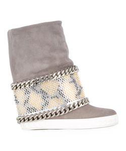 Casadei | Chain Trim Wedge Boots Calf Leather/Nappa